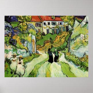 Van Gogh Village Street and Steps Auvers w Figures Print