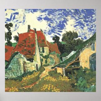 Van Gogh Village Street in Auvers, Vintage Cottage Posters