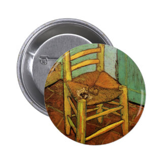 Van Gogh; Vincent's Chair with Pipe, Vintage Art 6 Cm Round Badge