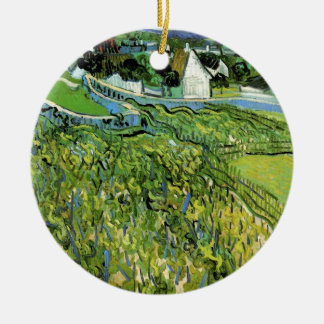 Van Gogh Vineyards with Auvers, Vintage Fine Art Ceramic Ornament