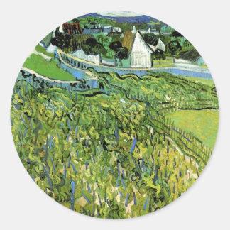 Van Gogh Vineyards with Auvers, Vintage Fine Art Classic Round Sticker