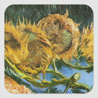 Van Gogh Vintage Flower Art, 4 Cut Sunflowers Square Sticker
