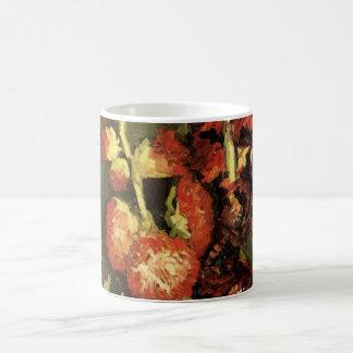 Van Gogh Vintage Flowers Art, Vase with Hollyhocks Basic White Mug