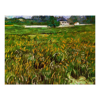 Van Gogh; Wheat Field at Auvers with White House Print
