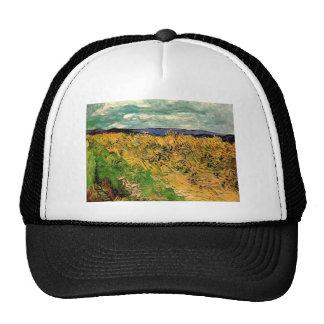Van Gogh Wheat Field Cornflowers, Vintage Farm Art Hats