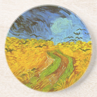 Van Gogh Wheat Field with Crows, Vintage Fine Art Drink Coaster