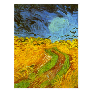 Van Gogh Wheat Field with Crows, Vintage Fine Art Postcard