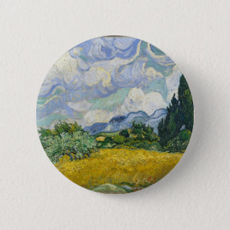 Van Gogh Wheat Field with Cypresses 6 Cm Round Badge