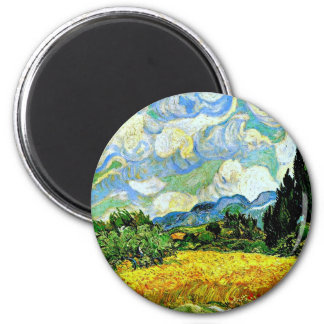 Van Gogh: Wheat Field with Cypresses 6 Cm Round Magnet