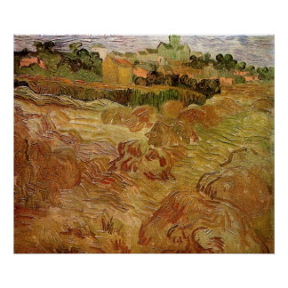 Van Gogh; Wheat Fields with Auvers, Vintage Farm Poster