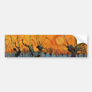 Van Gogh Willows at Sunset, Vintage Impressionism Bumper Sticker