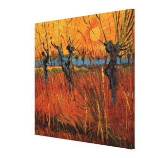 Van Gogh Willows at Sunset, Vintage Impressionism Canvas Print