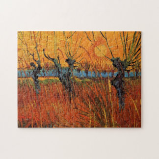 Van Gogh Willows at Sunset, Vintage Impressionism Jigsaw Puzzle