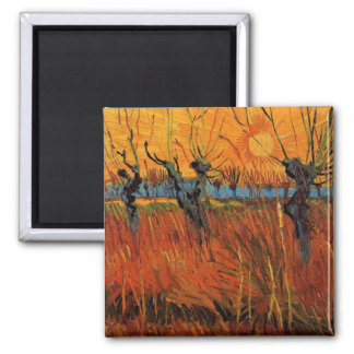 Van Gogh Willows at Sunset, Vintage Impressionism Refrigerator Magnet