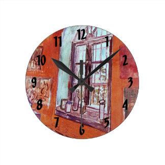 Van Gogh; Window of Vincent's Studio at the Asylum Round Clocks