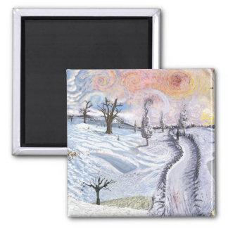 Van Gogh: Winter Landscape Square Magnet