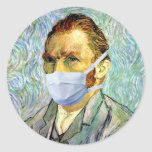 Van Gogh With Mask Round Stickers