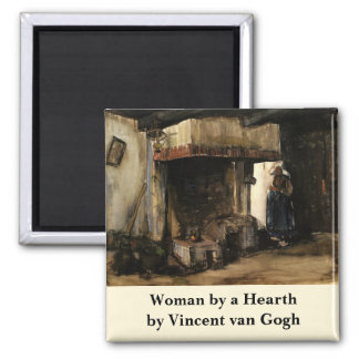 Van Gogh; Woman by a Hearth, Vintage Impressionism Magnets