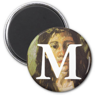 Van Gogh | Woman with her Hair Loose 2 Inch Round Magnet