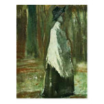 Van Gogh Woman with White Shawl in a Wood Postcard