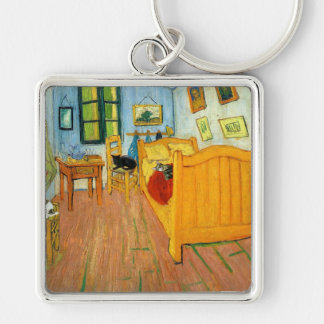 Van Gogh's Bed Silver-Colored Square Key Ring