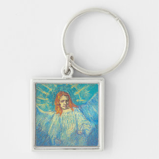 Van Gogh's 'Half Figure of an Angel' Keychain Silver-Colored Square Keychain
