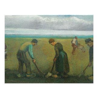 Van Gogh's Peasants or Farmers Planting Potatoes 21.5 Cm X 28 Cm Flyer