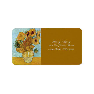 Van Gogh's Sunflowers Address Label