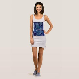 van gough inspired blue sun flowers sleeveless dress