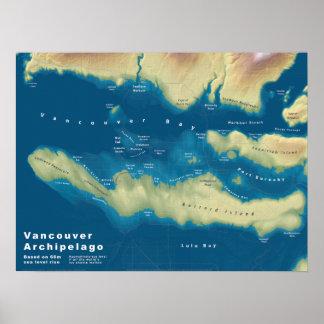 Vancouver Archipelago--Sea Rise Map Poster