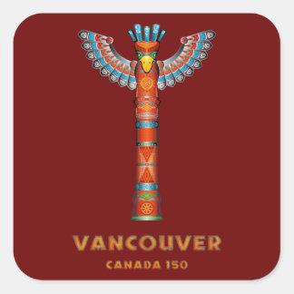 Vancouver (BC) Canada - Totem Pole Square Sticker