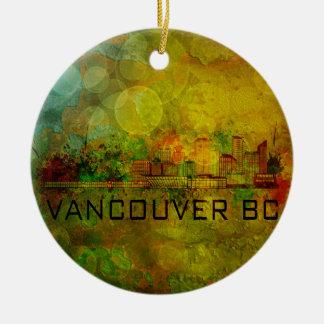 Vancouver BC City Skyline on Grunge Background Ill Round Ceramic Decoration