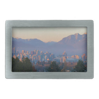 Vancouver BC Downtown Cityscape at Sunset Panorama Belt Buckle