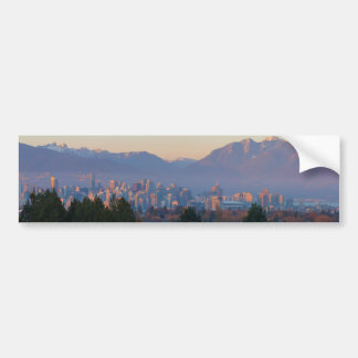 Vancouver BC Downtown Cityscape at Sunset Panorama Bumper Sticker