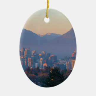 Vancouver BC Downtown Cityscape at Sunset Panorama Ceramic Ornament