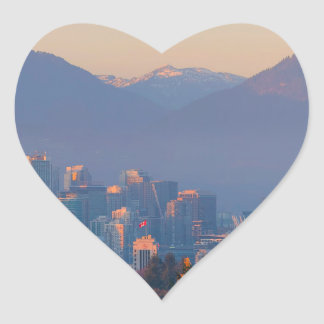 Vancouver BC Downtown Cityscape at Sunset Panorama Heart Sticker