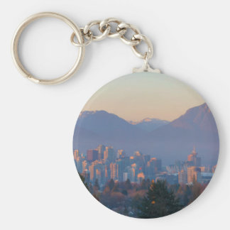Vancouver BC Downtown Cityscape at Sunset Panorama Key Ring