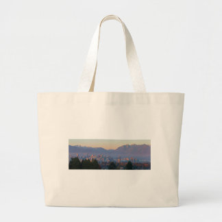 Vancouver BC Downtown Cityscape at Sunset Panorama Large Tote Bag
