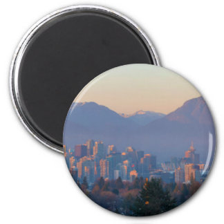 Vancouver BC Downtown Cityscape at Sunset Panorama Magnet