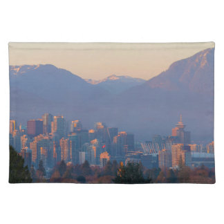 Vancouver BC Downtown Cityscape at Sunset Panorama Placemat