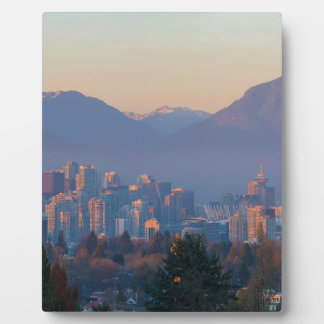 Vancouver BC Downtown Cityscape at Sunset Panorama Plaque