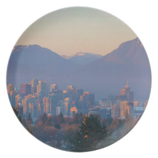 Vancouver BC Downtown Cityscape at Sunset Panorama Plate
