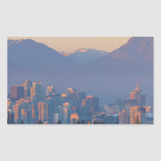 Vancouver BC Downtown Cityscape at Sunset Panorama Rectangular Sticker