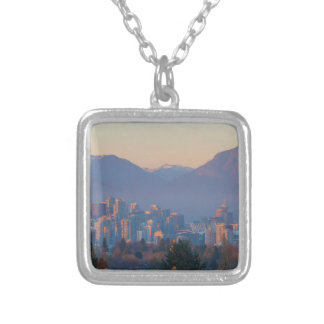 Vancouver BC Downtown Cityscape at Sunset Panorama Silver Plated Necklace