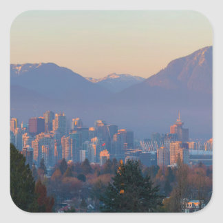 Vancouver BC Downtown Cityscape at Sunset Panorama Square Sticker
