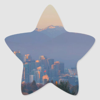 Vancouver BC Downtown Cityscape at Sunset Panorama Star Sticker