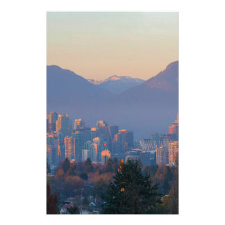 Vancouver BC Downtown Cityscape at Sunset Panorama Stationery