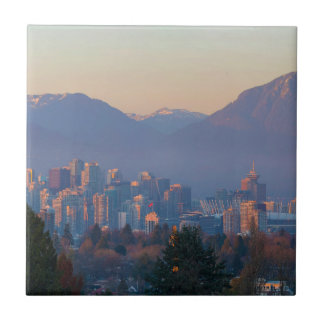 Vancouver BC Downtown Cityscape at Sunset Panorama Tile