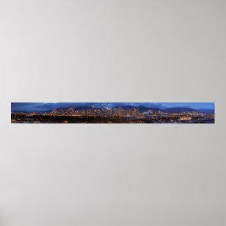 Vancouver British Columbia dusk Panorama Poster