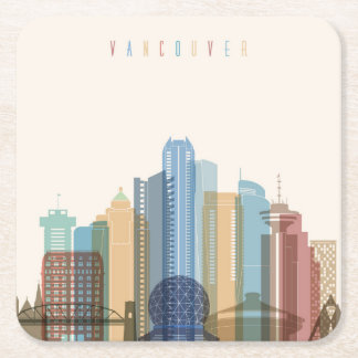 Vancouver, Canada | City Skyline Square Paper Coaster